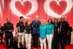 Last year's Innovation Showdown with top winners from ACC of NYC  and  Brandywine SPCA on stage with Shark Tank's Daymond John, Jane Lynch, Susanne Kogut, executive director of the Petco Foundation and Jackson Galaxy.