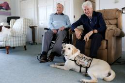 Sully, an America's VetDogs' service dog lends a helping paw to a former president.